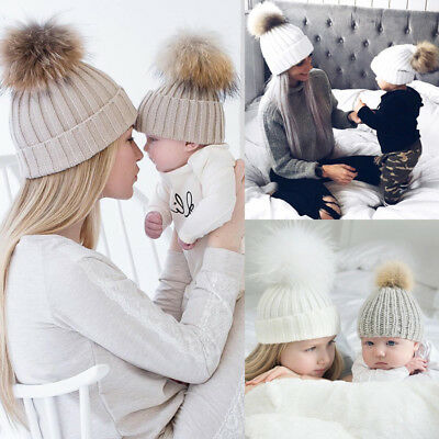 US Women Baby Kid Warm Winter Knit Wool Beanie Fur Pom Bobble Hat Crochet Cap