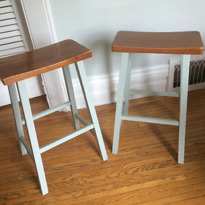 Wooden stools -pair