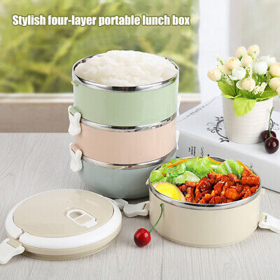 Stainless Thermo Insulated Thermal Food Container Bento Roun