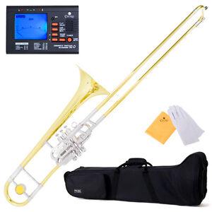 Mendini-Super-Bone-Bb-Valve-Slide-Trombone-w-Monel-Pistons-39Tuner