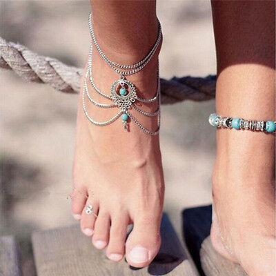 Womens Turquoise Barefoot Sandal Beach Anklet Foot Chain Jewelry Ankle Bracelet