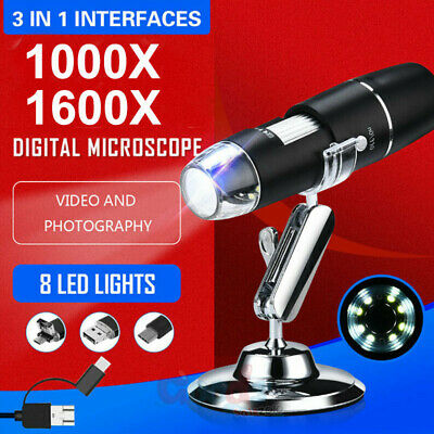 1000x1600x 8 Led Usb Zoom Digital Microscope Hand Held Biological Endoscope A