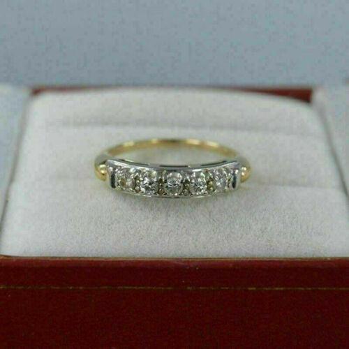 Vintage Wedding Band Ring Gift 1.00 Ct Round Cut Diamond 14k Yellow Gold Finish