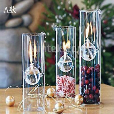 2PC Romantic Glass Oil Lamp Home Living Room Light Kerosene Burner Wedding Decor