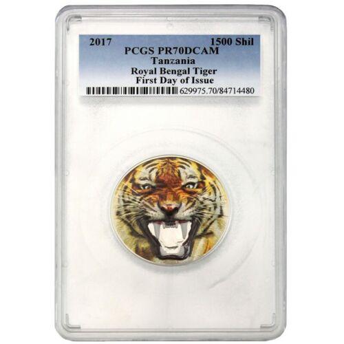 2017 1500 Shilling Tanzania Royal Bengal Tiger 2oz. Silver Coin PCGSPR70DCAM FD