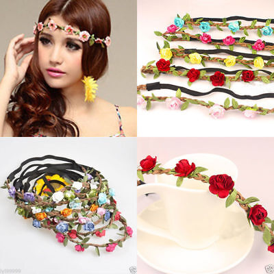 Boho Fabric Festival Wedding Party Garland Forehead Hair Women Flower Head Band (Flower Headband)