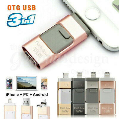 256GB i Flash Drive USB Memory Stick HD U Disk 3 in 1 for Android IOS iPhone PC/
