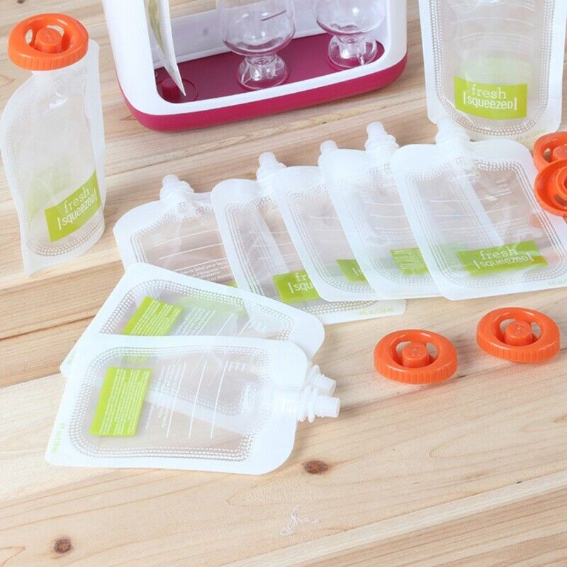120ml Reusable Squeeze Bags Baby Food Pouches For Homemade Drinks Storage 10pcs