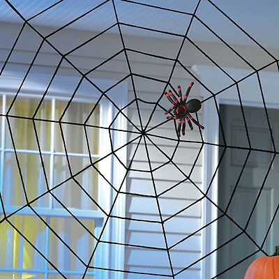 Giant Halloween Horror Party Black Rope Spider Web Outdoor Decoration 150cm