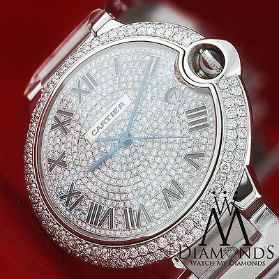 Large Cartier Ballon Bleu de Cartier Diamond Pave Dial Complete w/ Box & Papers