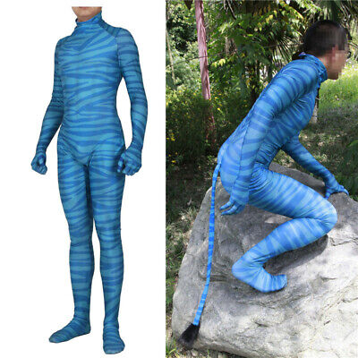 Avatar Body Suit (Avatar Zentai Suit Jumpsuit With Tail Adult Cosplay Costumes For Halloween)