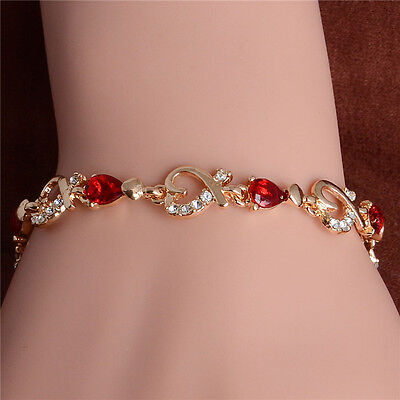 18k Yellow Gold Plated Austrian Crystal Woman Bracelet Bangle Wristband Chain
