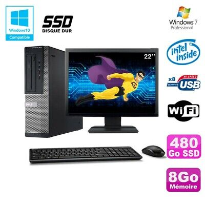 Lot PC DELL 3010 DT Intel G2020 DVD 8Go Disque 480Go SSD Wifi Win 7 + Ecran 22