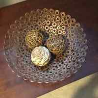Bronze metal bowl with ornaments