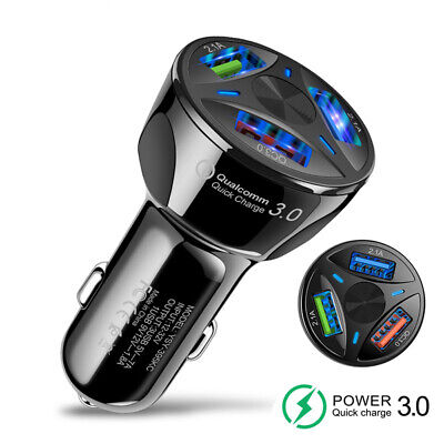 3 Ports USB Car Charger Quick Charge QC 3.0 Fast Car Cigarette Lighter Best