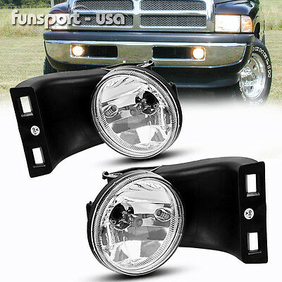 for 94-02 Dodge RAM 1500 2500 3500 Clear Lens Bumper Fog Lights Lamps Left+Right