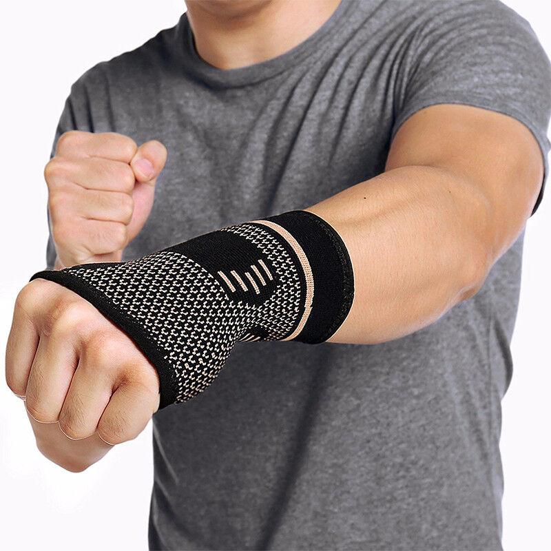 Copper Elastic Wrist Support Hand Palm Brace Compression Glo
