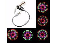 USB Mini Flexible Gooseneck LED Fan with LED FLOWER DESIGN Light - TOP UK Seller