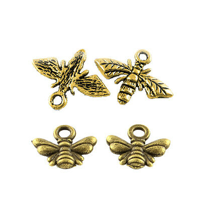 4 Bee Charms Pendants Bumblebee Charms Antiqued Bronze Gold Charms Set Insect - Bee Charms