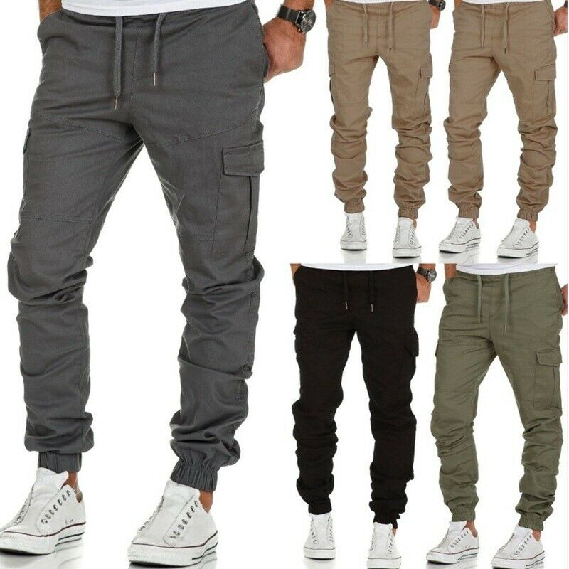 Men's Casual Joggers Pants Sweatpants Cargo Combat Loose Active Sports Trousers Clothing, Shoes & Accessories