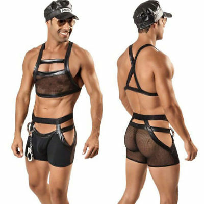 Sexy Mens police Gay cop fancy dress outfit, clubwear Policeman, PVC outfit