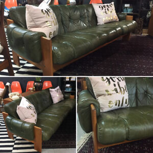 Awesome Mid Century Modern Leather and Teak Sofa