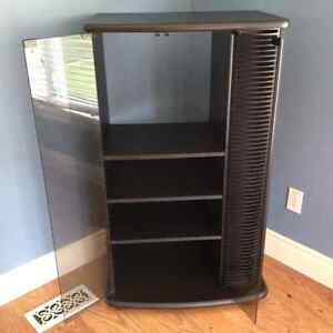 Tall Entertainment Unit - black with 2 glass doors Cambridge Kitchener Area image 1