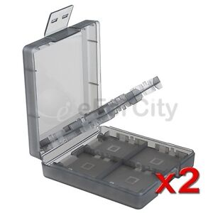 2Pk Black 6in1 Game Card Carry Hard Plastic Case Box For Nintendo DS Lite NDSL