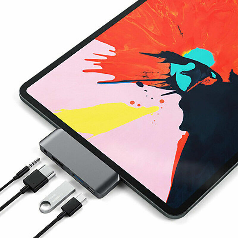 For iPad Pro 2018 HUB USB-C 4-in-1 UHD HDMI USB 3.0 PD Charging 3.5mm Adapter