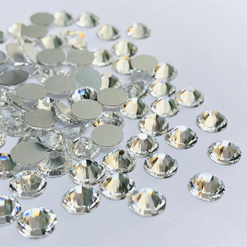 1440pcs White Glitter Nail Art Rhinestones Flatback Crystal Gem Nails Decoration