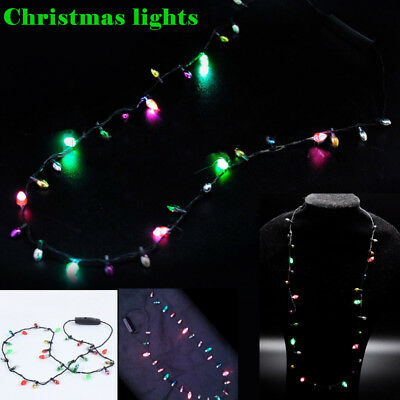 1 Pcs Mini Flashing Light-up Blinking Christmas Lights Costume Necklace 8 LED Bu - Blinking Christmas Light Necklace