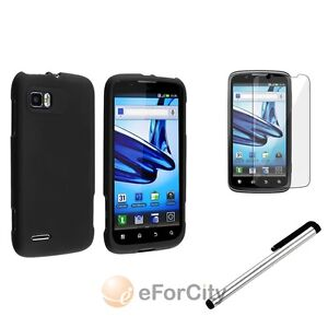 Black Snap-on Rubber Hard Case+Stylus+SP Film Cover For Motorola Atrix 2 MB865