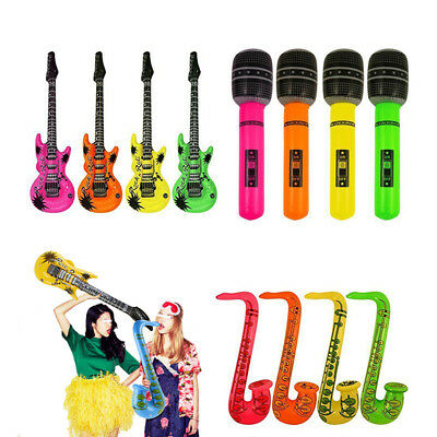 4/100PCS Inflatable Blow Up Microphone/Guitar Kids Children Home Holiday - Blow Up Microphone