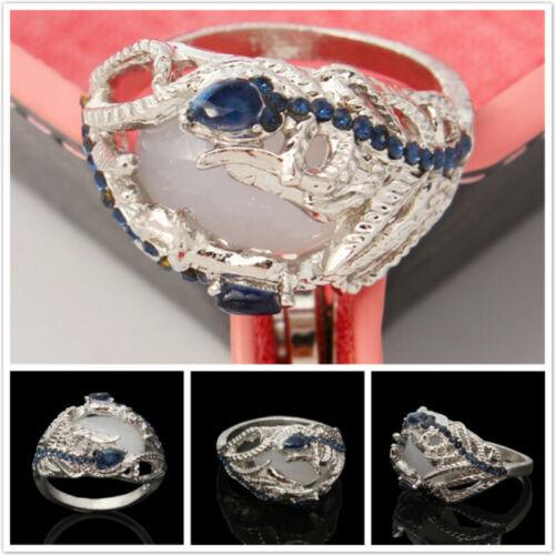 Wedding Bridal Rhinestone Peacock Feather Opal Ring Couple R