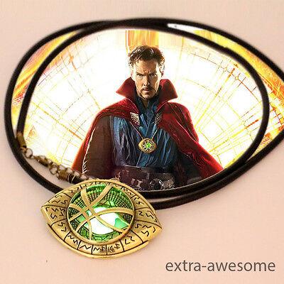 Dr Doctor Strange Pendant Eye of Agamotto GLOW IN THE DARK Necklace AmuletMarvel