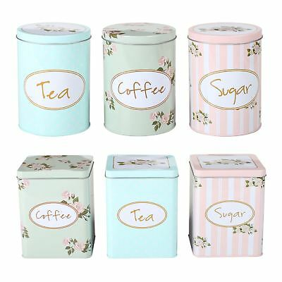 CrazyGadget® 3PC Kitchen Storage Shabby Chic - Tea Sugar & Coffee Canisters