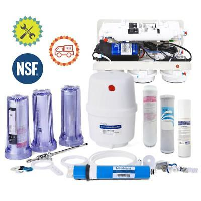 5 Stage Home Drinking Water Filter Clear 50G RO Reverse Osmosis System W/ Pump