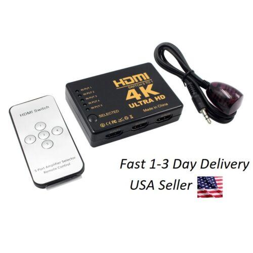 5 Port HDMI Switch 4K UHD Splitter Box Hub Remote Control PS4 XBOX Bluray TV