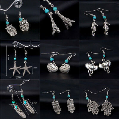Fashion Woman Vintage Silver Plated Turquoise Owl Starfish Drop/Dangle - Turquoise Starfish Earrings