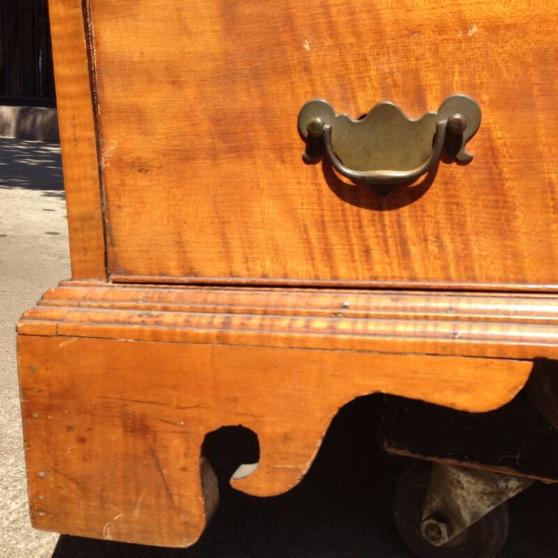 American Chippendale Tiger Maple Slant Front Desk, c. 1770