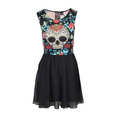 NewBreed Day Of The Dead Womens Cocktail Dress With All Black - Day Of The Dead Attire