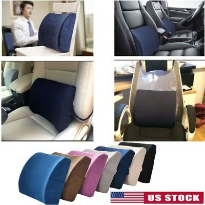 Lumbar Cushion Back Support Memory Foam Travel Pillow Car Se