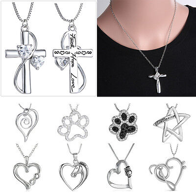 Engraved Heart Horse Footprint Cross Crystal Pendant Necklace Women Lady (Engraved Heart Cross)
