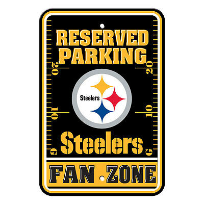 New NFL Pittsburgh Steelers Home Office Bar Decor Parking Sign FAN ZONE (Pittsburgh Steelers Zone Sign)