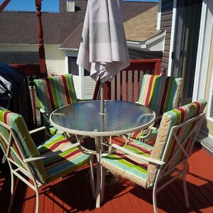 Deck and Patio Furniture - Table, 4 chairs, umbrella and storage