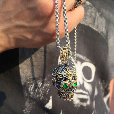 Male Sugar Skull (Sugar Skull Head Skeleton Pendant Men Necklace Mexican Day of The Dead)