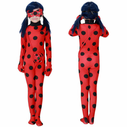 YBcos Ladybug Cosplay Costume Fancy Halloween Jumpsuit and Props Necklace