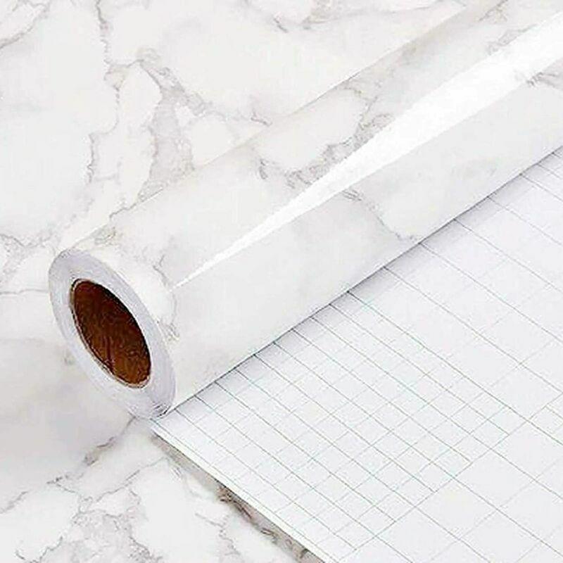 White Marble Granite Contact Paper Countertop Vinyl Self Adh