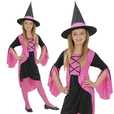 Hexe Märchenhexe Kyra Mädchen Kinder Kostüm Kleid rosa pink - Halloween Karneval