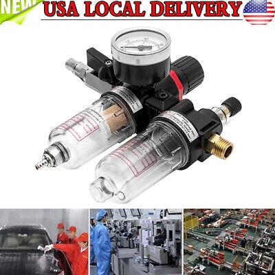 Air Compressor Oil Lubricator Water Separator Trap Filter Regulator Gauge Kit